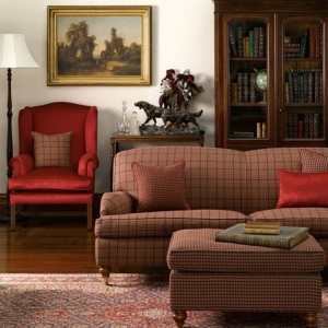 Adelaide sofa with matching ottoman and Macquarie wing chair