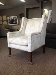 Auburn Wing Chair white damask