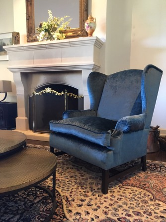 Columbia Wing Chair created for Newham Interiors. The fabric selected is from Mokum in a vintage velvet, colour 'Lapis'.