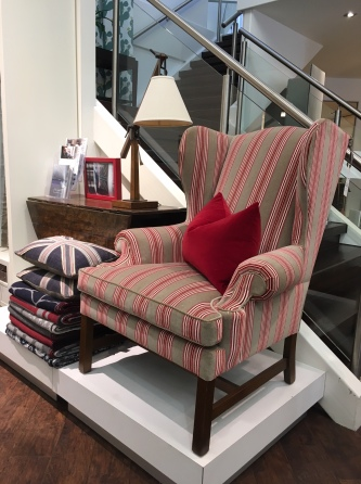 Columbia Wing Chair from the Wills Collection is dressed in an Ian Mankin fabric – Regency – in the colour Peony.