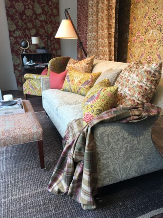 Georgian Sofa dressed in Morris and Co 'Thistle Weave', Alexandra Chair in 'Seasons by May' and Georgian Stool in 'Bird Weave' fabrics from Domestic Textiles Corporation https://www.domestictextile.com.au/