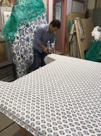 1. David working on a custom bedhead for major retail client. Fabric : Elliott Clarke, Baker Lifestyle, Avila col. soft blue